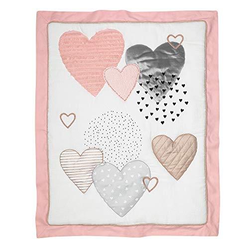 Lambs Ivy Signature Heart To Heart 4 Piece Crib Bedding Set Pink Gray 0 4