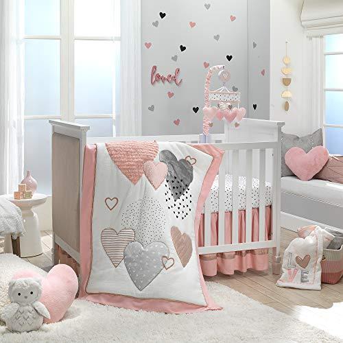 Lambs Ivy Signature Heart To Heart 4 Piece Crib Bedding Set Pink Gray 0