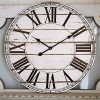 Large Wall Clock Vintage Farmhouse Style Decorative Shiplap Clock With Roman Numbers Silent Battery Operated Indoor Clock For Living Room Dining Room Hallway 24 Inch Distressed White 0 100x100
