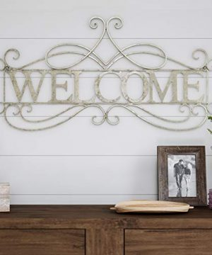 Lavish Home Metal Cutout Welcome Wall Sign 3D Word Art Accent Decor Perfect For Modern Rustic Or Vintage Farmhouse Style 0 300x360