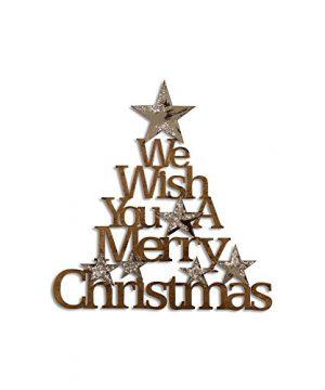 Letter2Word Seasonal Wall Decor We Wish You A Merry Christmas Original Word Wall Art Bronze Gunmetal And Silver Glitter 0 300x360