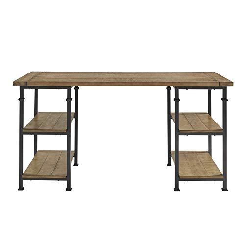 Lexicon Milligan Wood Writing Desk With 4 Storage Shelves 60 X 28 Rustic Brown 0 0