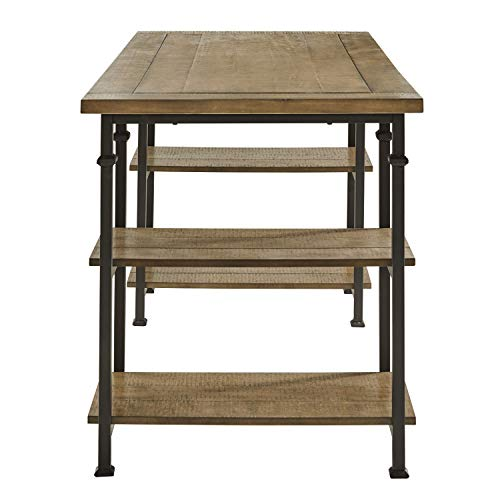 Lexicon Milligan Wood Writing Desk With 4 Storage Shelves 60 X 28 Rustic Brown 0 1