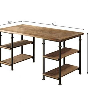 Lexicon Milligan Wood Writing Desk With 4 Storage Shelves 60 X 28 Rustic Brown 0 2 300x360