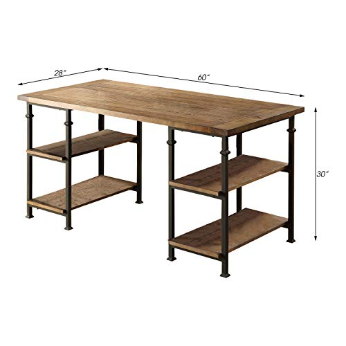Lexicon Milligan Wood Writing Desk With 4 Storage Shelves 60 X 28 Rustic Brown 0 2