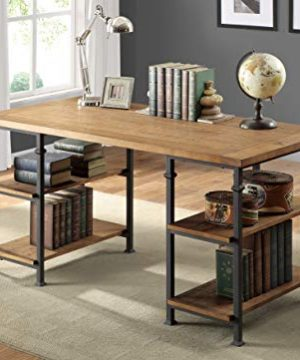 Lexicon Milligan Wood Writing Desk With 4 Storage Shelves 60 X 28 Rustic Brown 0 3 300x360
