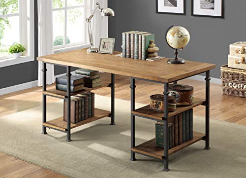 Lexicon Milligan Wood Writing Desk With 4 Storage Shelves 60 X 28 Rustic Brown 0 3