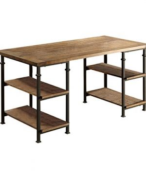 Lexicon Milligan Wood Writing Desk With 4 Storage Shelves 60 X 28 Rustic Brown 0 300x360