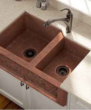 Lottare Undermount Sink Double Bowl Solid Copper Farmhouse Kitchen Sink Apron Front Coffee Brown 0 300x360