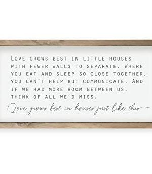 Love Grows Best In Houses Framed Wood Farmhouse Wall Sign 9x18 0 300x342