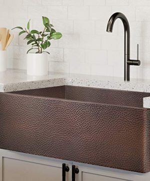Luxury HEAVY GAUGE 12 Gauge 30 Inch Modern Copper Farmhouse Sink 44 LBS Pure Copper Apron Front Single Bowl Dark Copper Finish Grid And Flange Included FSW1106 By Fossil Blu 0 300x360