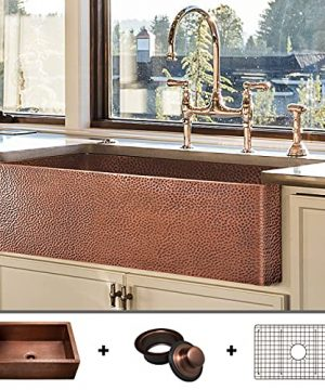 Luxury HEAVY GAUGE 12 Gauge 33 Inch Modern Copper Farmhouse Sink 48 LBS Pure Copper Apron Front Single Bowl Antique Copper Finish Grid And Flange Included FSW1105 By Fossil Blu 0 300x360