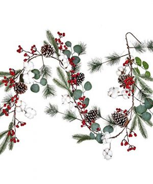 Lvydec Christmas Pine Garland Decoration 67ft Eucalyptus Christmas Garland With Red Berry Pine Cone Cotton Boll And Eucalyptus Leaves For Holiday Mantel Fireplace Table Centerpiece 0 300x360