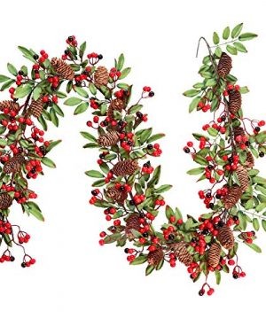 Lvydec Red Berry Garland Christmas Decoration 59ft Artificial Red Berry Garland With Pine Cone And Green Leaves For Holiday Fireplace Stairs Table Decorations 0 300x360