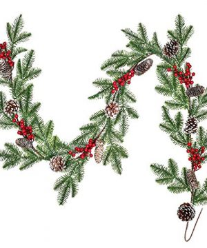 Lvydec Spruce Garland Christmas Decoration 6ft Pine Cones Garland With Artificial Red Berry Picks And Spruce Leaves For Holiday Fireplace Railing Table Decoration 0 300x360