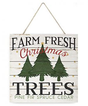MRC Wood Products Farm Fresh Christmas Trees Wooden Plank Sign 75x75 0 300x360