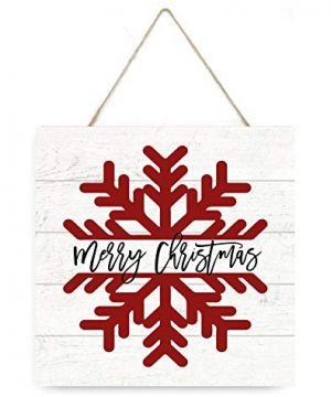 MRC Wood Products Merry Christmas Snowflake Wooden Plank Sign 75x75 0 300x360