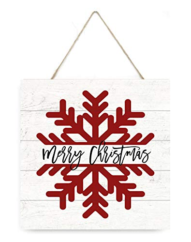 MRC Wood Products Merry Christmas Snowflake Wooden Plank Sign 75x75 0