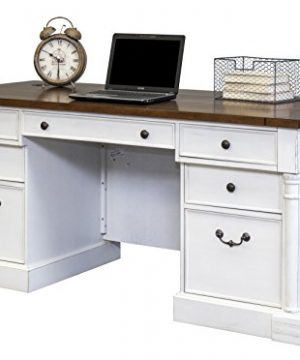 Martin Furniture Durham Double Pedestal Executive Desk White 0 300x360
