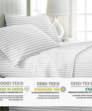 Mayfair Linen 800 Thread Count Striped Sheets For Bed 100 Egyptian Long Staple Cotton Woven Stripe King White 4 Piece Bedding Set Hotel Quality OekoTex Certified 0 1 300x360