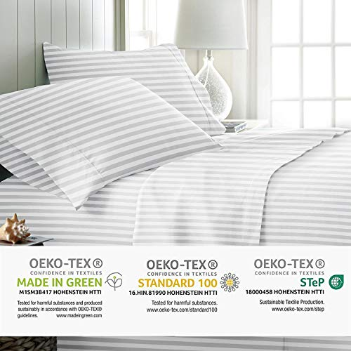Mayfair Linen 800 Thread Count Striped Sheets For Bed 100 Egyptian Long Staple Cotton Woven Stripe King White 4 Piece Bedding Set Hotel Quality OekoTex Certified 0 1