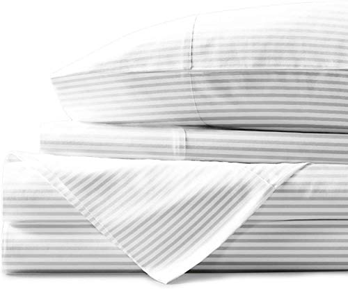 Mayfair Linen 800 Thread Count Striped Sheets For Bed 100 Egyptian Long Staple Cotton Woven Stripe King White 4 Piece Bedding Set Hotel Quality OekoTex Certified 0