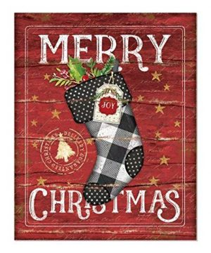 Merry Christmas Stocking Rustic Wood Wall Sign 12x15 0 300x360
