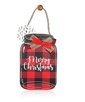 Merry Christmas Wooden Door Decor Red Buffalo Check Plaid Front Door Decoration With Hanging Burlap String Winter Snow Mason Jar Sign Board For Farmhouse Rustic Wall Porch Window Fence Red 0 300x360
