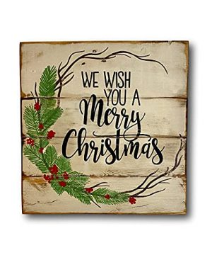 Metal Sign We Wish You A Merry Christmas Sign Country Farmhouse Christmas Decoration Home And Kitchen Signs Kitchen Decoration Decorative Signs And Plaques 12x12inch Metal Tin SignMetal Plaque 0 300x360