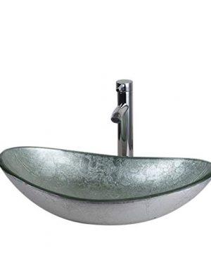 Milan Silver Glass Bathroom Sink Faucet Drain Combo 0 300x360