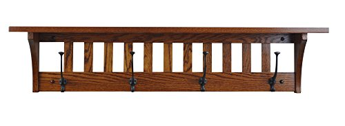 Mission Style Wall Mounted Coat Rack With Shelf Wooden Hat Rack Entryway Organizer With Hooks Rustic Farmhouse Mounted Wall Rack 4 Hooks 42L Oak Wood Michaels Stain 0