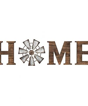 Mkono Wall Hanging Wood Home Sign With Metal Windmill For O Rustic Wooden Home Hanging Letters Decorative Wall Decor Signs For Living Room House Brown 0 300x360