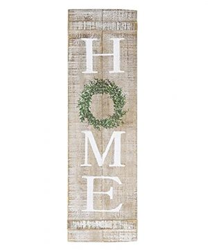 NIKKY HOME Farmhouse Home Sign With Wreath 30 X 9 Inch Rustic Wood Vertical Wall Plaque Hanging Decor For Living Room Entry Way Kitchen Porch Front Door Housewarming Gift 0 300x360