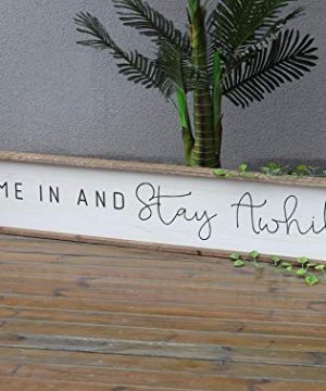 NOBRAND Large Horizontal Wooden Signs With Sayings Come In And Stay AwhileFarmhouse Wood Wall Plaque59x11 0 300x360
