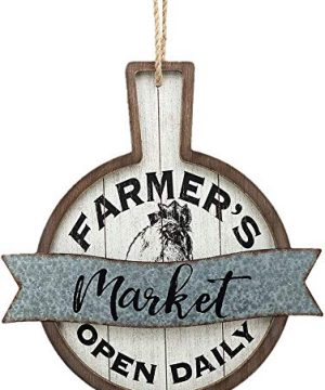 NOBRAND Wood And Metal Circular SignsRustic Farmhouse Kitchen Wood Sign Plaque Wall Hanging Decor With Words Farmers Market Open Daily 0 300x360