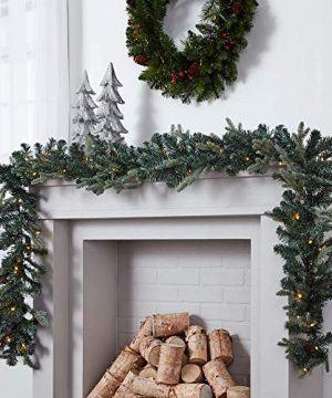 NOMA Pre Lit 9 Ft LED Mini Pinecone Christmas Garland With Battery Operated Lights 50 Warm White Bulbs 425 Pine Tips 0 300x360