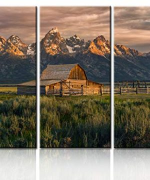 National Parks Pictures Country Paintings For Wall Moulton Barn Wall Art Nature Scene Artwork 3 Panel Canvas Native American Home Decorations For Living Room Wooden Framed Ready To Hang40x60 0 300x360