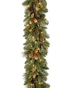National Tree Company Pre Lit Artificial Christmas Garland Flocked With Mixed Decorations And LED Lights Carolina Pine 9 Ft 0 300x360
