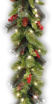 National Tree Company Pre Lit Artificial Christmas Garland Flocked With Mixed Decorations And Lights Crestwood Spruce 9 Ft 0 181x360