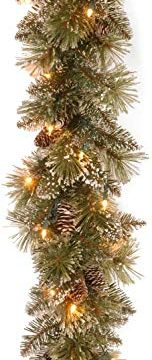 National Tree Company Pre Lit Artificial Christmas Garland Flocked With Mixed Decorations And White LED Lights Glittery Bristle Pine 6 Ft 0 152x360