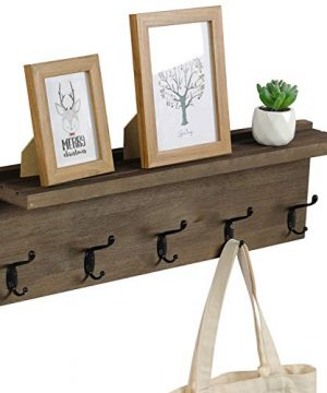 OROPY Rustic Entryway Coat Hooks With Storage Shelf 236 Length Solid Wood Wall Mounted Clothes Rack With 5 Hooks And Display Shelf For Hallway Bathroom Living Room Bedroom Kitchen Walnut Color 0 300x360