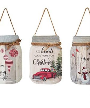 OSW Christmas Mason Jar Cut Out Wall Signs Wood And Galvanized Metal Set Of 3 Red Truck Snowman Christmas Ornaments Plaques For Farmhouse And Country Decor 0 300x360
