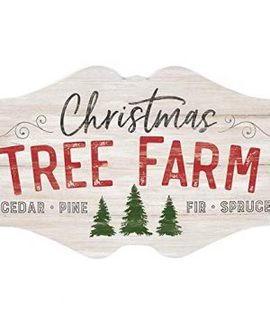 P Graham Dunn Christmas Tree Farm Whitewash 18 X 11 Wood Christmas Wall Plaque Sign 0 300x360