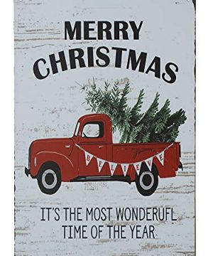 PXIYOU Merry Christmas Trees Funny Truck Retro Vintage Bar Metal Tin Sign Poster Style Wall Art Pub Bar Decor Coffee Cup Signs Size 8X12Inch 0 300x360