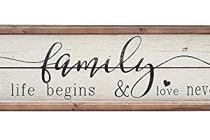 Parisloft Family Where Life Begins Love Never Ends White Background Wood Framed Wood Wall Decor Sign Plaque 236 X 12 X 6 Inches Family Where Life Begins 0 300x200