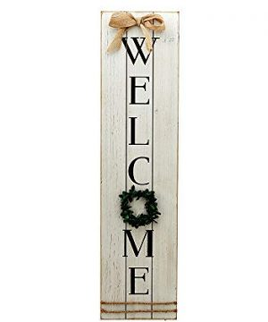Parisloft Vertical Wooden Welcome Sign Plaque With Wreath Wall Hanging DecorLarge Farmhouse Decor For EntrywayFront Door 0 300x360