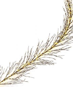 Pip Berry Garland With Lights 5 Feet Long 100 LED Brown Twig Branches With White Berries Primitive Style For Winter Decoration And Farmhouse Decor Battery Powered Timer Included 0 300x360