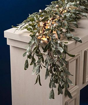 Prelit Garland For Mantle And Table Decor 100 White LED Lights 6 Ft Glitter Frosted Greenery With Pearl Mistletoe Berries Battery Operated Lighted Holiday Decoration For Home And Wedding 0 300x360