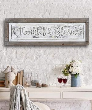 PrideCreation Thankful Blessed Wall Signs 36x11 Inch Wall Hanging Art Decor Rustic Framed Inset Embossed Vintage Farmhouse Signs For Linging Dining Room Bedroom Kitchen Distressed GreyWhite 0 1 300x360