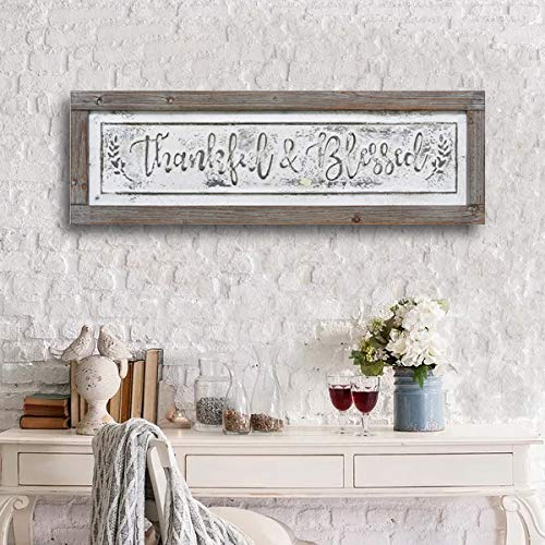 PrideCreation Thankful Blessed Wall Signs 36x11 Inch Wall Hanging Art Decor Rustic Framed Inset Embossed Vintage Farmhouse Signs For Linging Dining Room Bedroom Kitchen Distressed GreyWhite 0 1